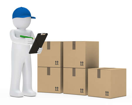 supplier: courier figure with cap make signs package Stock Photo