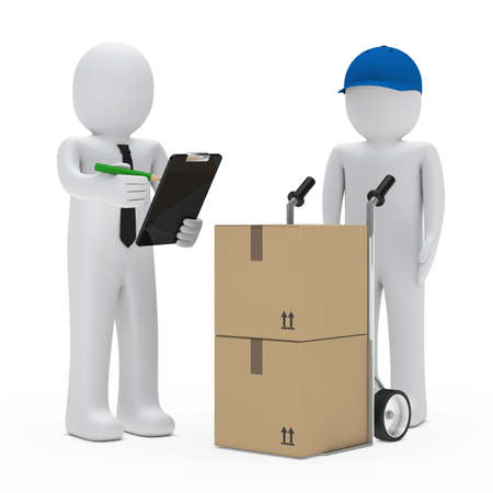 shipments: businessman get a package delivery and signs