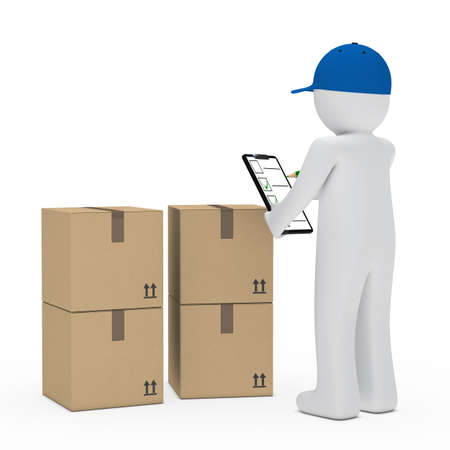 removals boxes: courier figure with cap make signs package Stock Photo