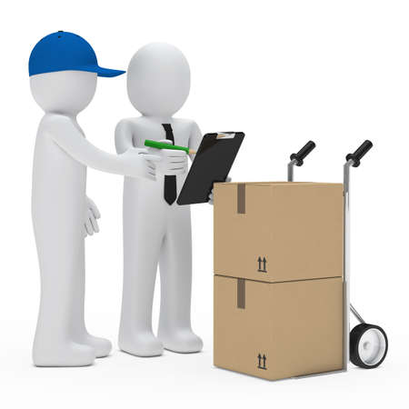 removals boxes: courier figure bring package businessman make sign