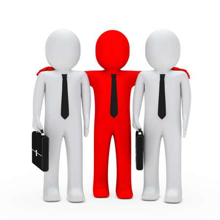 embrace: businessmen with black briefcase red leader