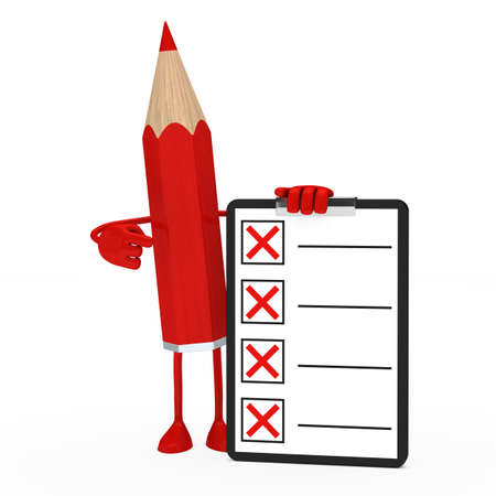 red pencil figure shows finger on checklist photo