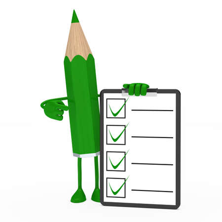 big green pencil figure shows on checklist Stock Photo - 13235479