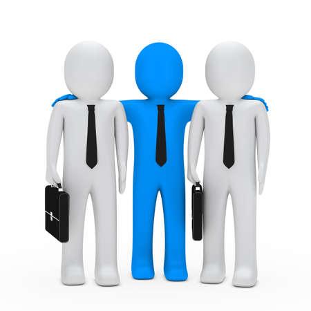 businessmen with black briefcase blue leader photo