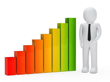 financial gains: businessman show and stand next a graph