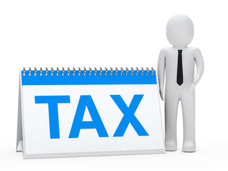 dues: businessman with tie stand next tax calendar