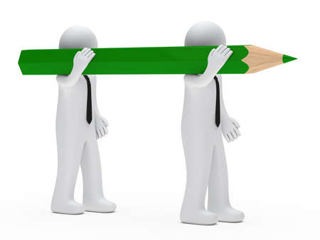businessmen team hold a big green pencil Stock Photo - 13274948