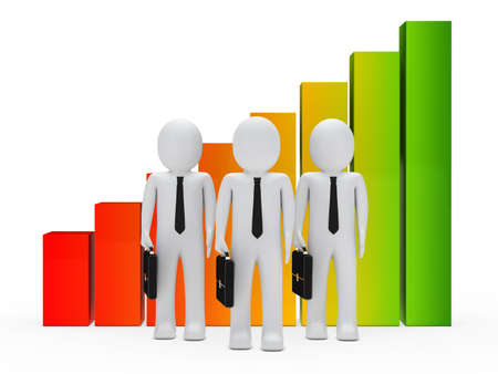 businessmen with briefcase stand next a graph photo