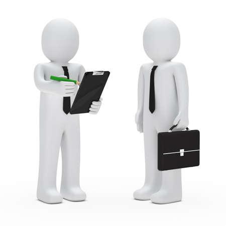 gespr�ch: Gesch�ftsmann mit Aktenkoffer F�hrung halten Bleistift Checkliste