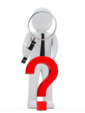 seeking solution: businessman look with magnifying glass question mark