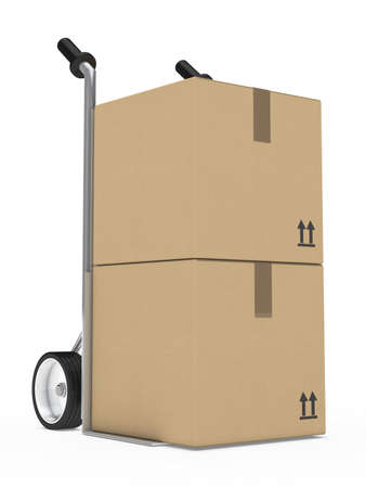 hand truck with package on withe background photo