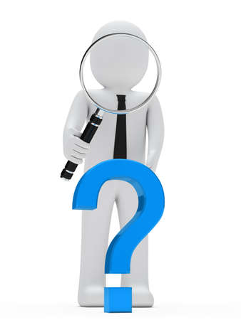 scrutinise: businessman look with magnifying glass question mark
