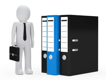 organise: businessman with briefcase stand next three folder