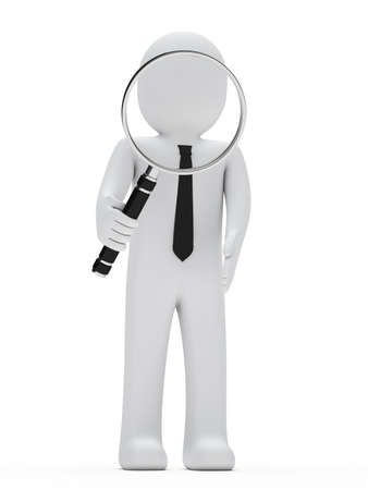 identify: businessman look with magnifying glass and search