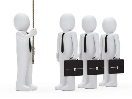 foresight: businessman team look up hold a rope