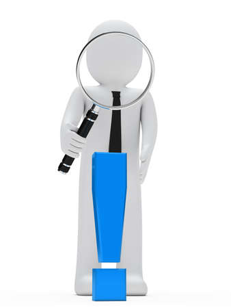businessman look with magnifying glass exclamation mark Stock Photo - 13432130