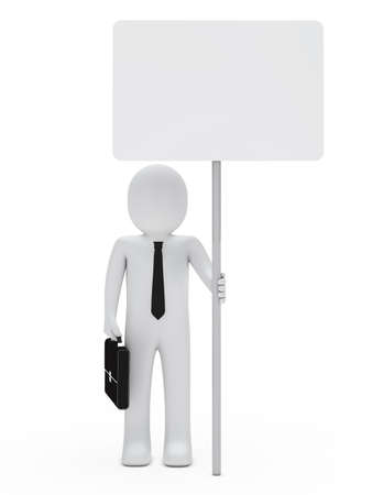 billboard advertising: businessman with briefcase and tie hold signboard