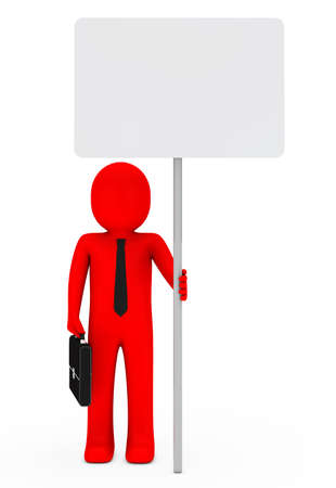 businessman with briefcase and red hold signboard photo
