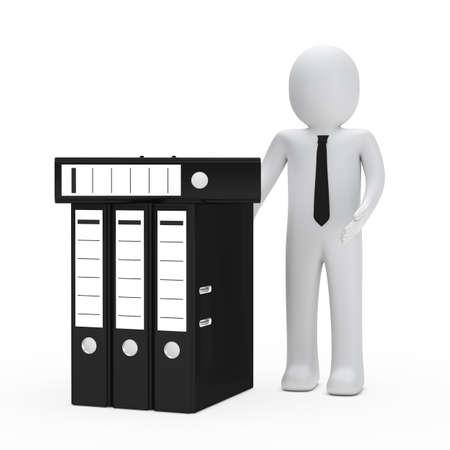 organise: businessman with tie show many black folder Stock Photo