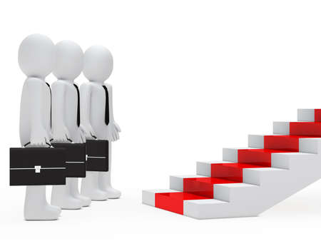 ascend: businessmen with briefcase stand before red steps