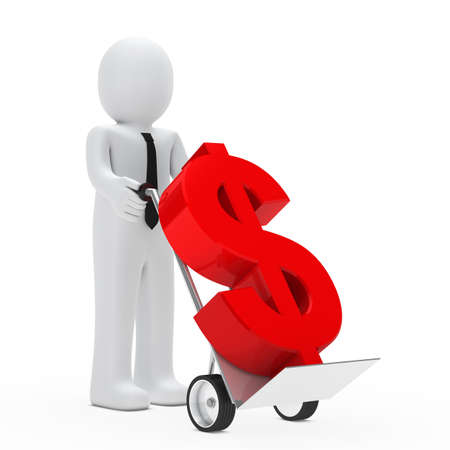 monetary: businessman hold hand truck with red dollar