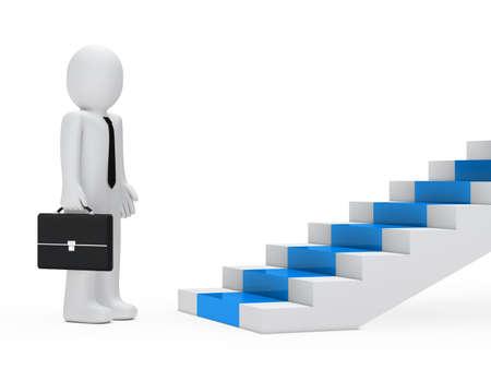 blue carpet: businessman with briefcase stand befor blue steps