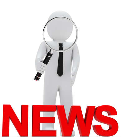 scrutinise: businessman look with magnifying glass red news Stock Photo