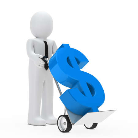 businessman hold hand truck with blue dollar