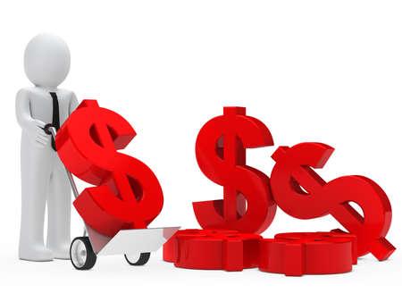 mucho dinero: negocios tienen carretilla de mano con el dólar de color rojo
