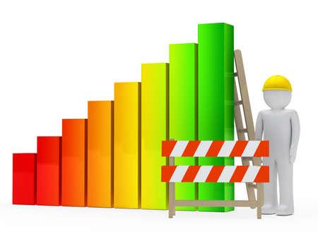 achievment: man figure with helmet construction bar graph