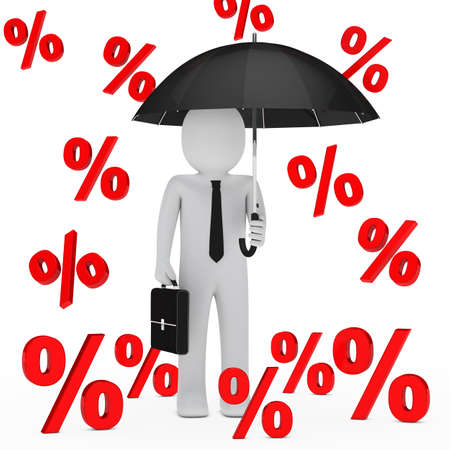 profit and loss: businessman with umbrella falling red sale percent