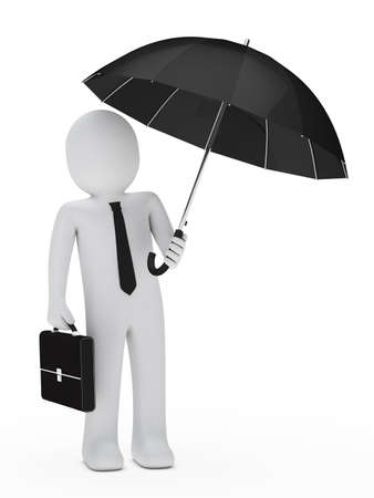 refuge: businessman with briefcase hold a black unbrella