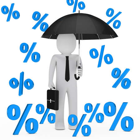 proportion: businessman with umbrella falling blue sale percent