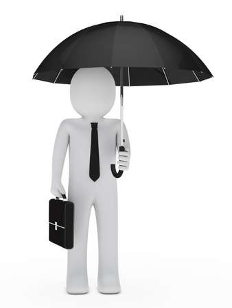 business risk: businessman with briefcase hold a black umbrella   Stock Photo