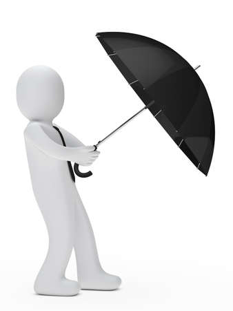 businessman hold umbrella and wind blows photo