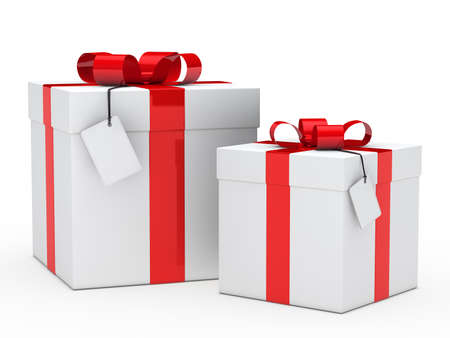 two christmas gift box with red ribbon photo