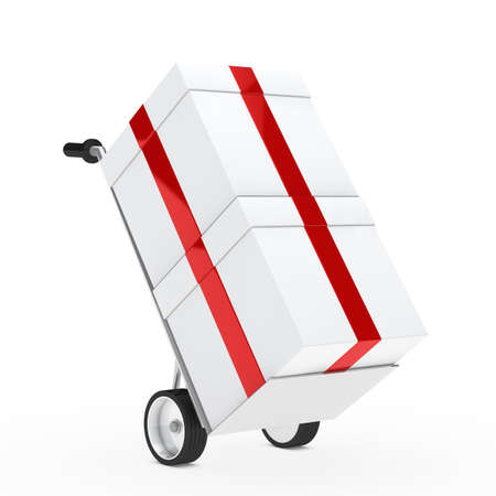 distribute: christmas gift box red ribbon hand truck Stock Photo