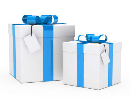 gift wrapped: two christmas gift box with blue ribbon Stock Photo