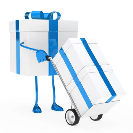 blue christmas gift box hold hand truck photo