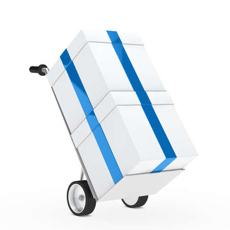 christmas gift box blue ribbon hand truck Stock Photo - 13681034