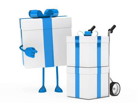 christmas blue gift figure show hand truck photo