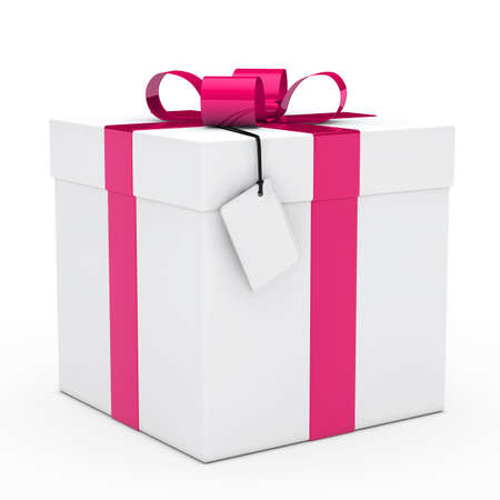 gift giving: christmas white gift box pink ribbon signboard