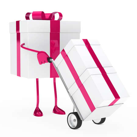 pink christmas gift box hold hand truck photo
