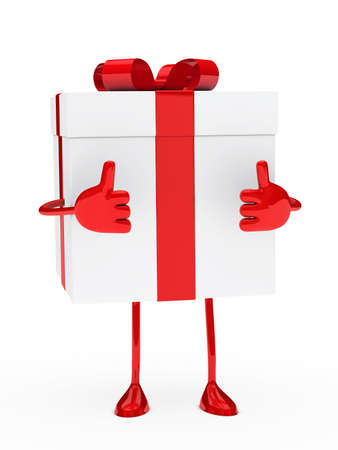 christmas red white gift figure thumb up photo