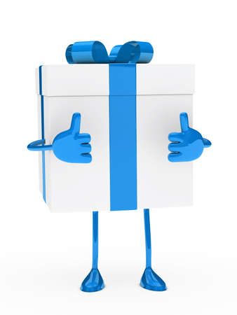 christmas blue white gift figure thumb up photo