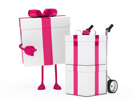 christmas pink gift figure show hand truck photo