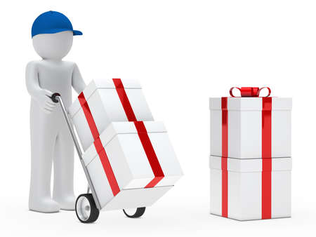 supplier: figure supplier push hand truck with gifts
