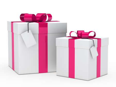two christmas gift box with pink ribbon photo