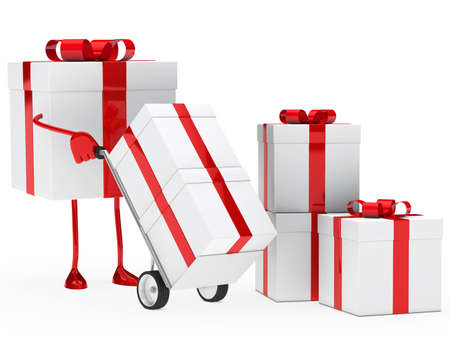 shove: red christmas gift box hold hand truck
