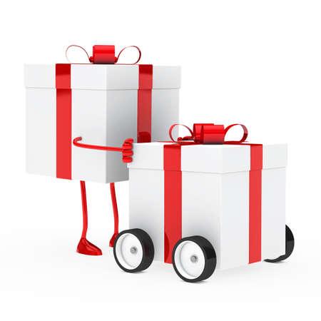 christmas red figure push gift box vehicle photo